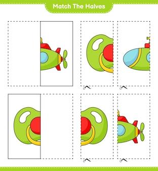 Dopasuj połówki dopasuj połówki łodzi podwodnej i smoczka edukacyjna gra dla dzieci