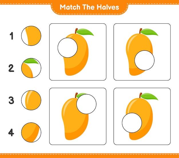 Dopasuj połówki. dopasuj połówki mango. gra edukacyjna dla dzieci, arkusz do druku