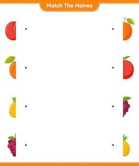 Dopasuj połówki. dopasuj połówki owoców. gra edukacyjna dla dzieci, arkusz do druku