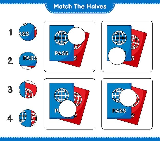 Dopasuj połówki. dopasuj połówki paszportu. gra edukacyjna dla dzieci, arkusz do druku