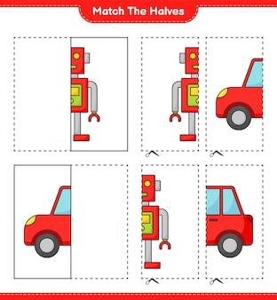 Dopasuj połówki dopasuj połówki postaci robota i gry edukacyjnej dla dzieci!
