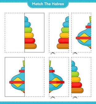 Dopasuj połówki dopasuj połówki pyramid toy i whirligig toy gra edukacyjna dla dzieci