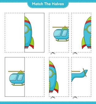 Dopasuj połówki dopasuj połówki rakiety i helikoptera gra edukacyjna dla dzieci