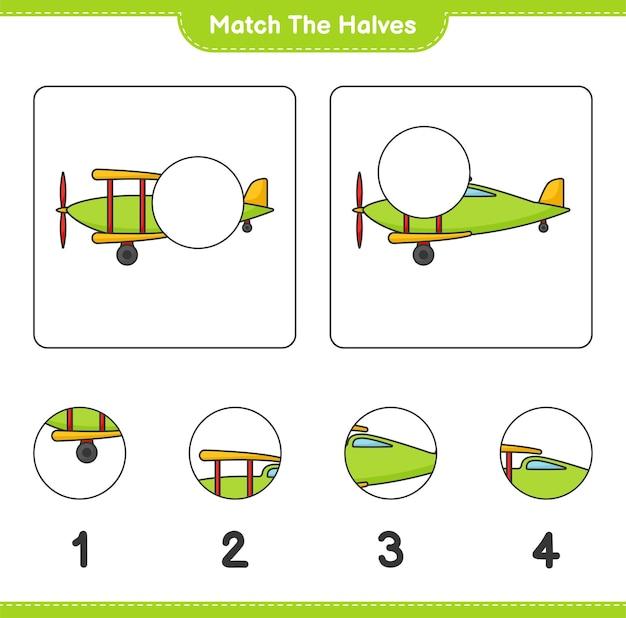 Dopasuj połówki dopasuj połówki samolotu gra edukacyjna dla dzieci do wydrukowania
