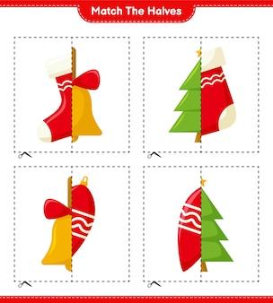 Dopasuj połówki. dopasuj połówki świątecznej dekoracji. gra edukacyjna dla dzieci, arkusz do druku, ilustracja