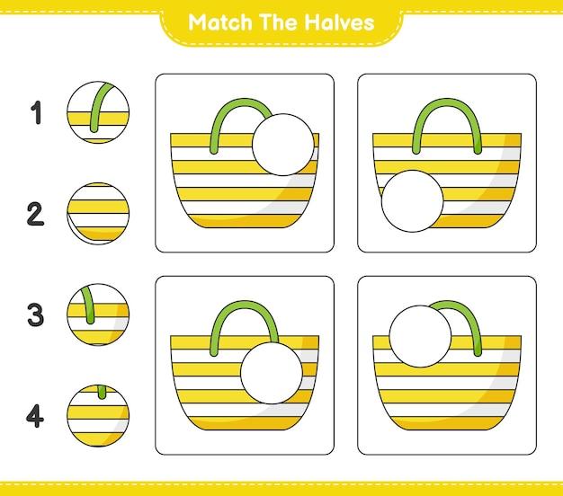 Dopasuj połówki. dopasuj połówki torby plażowej. gra edukacyjna dla dzieci, arkusz do druku