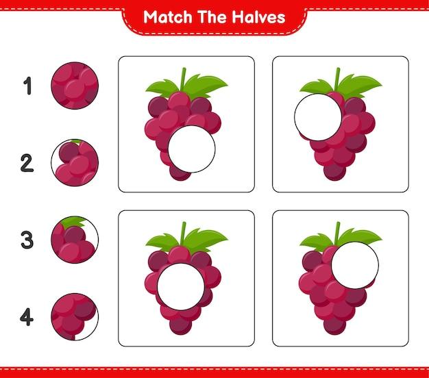 Dopasuj połówki. dopasuj połówki winogron. gra edukacyjna dla dzieci, arkusz do druku