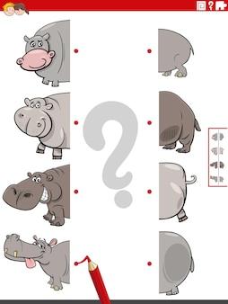 Dopasuj połówki obrazków do gry edukacyjnej o hipopotamie