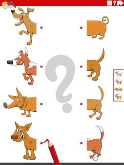Dopasuj połówki obrazków z zadaniem edukacyjnym psów