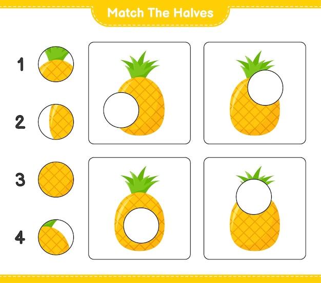 Dopasuj połówki. połącz połówki ananasa. gra edukacyjna dla dzieci, arkusz do druku
