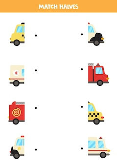 Dopasuj połówki środków transportu z kreskówek. gra logiczna dla dzieci.