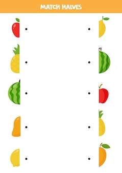 Dopasuj połówki uroczych owoców z kreskówek. edukacyjna gra logiczna dla dzieci. edukacja domowa dla przedszkolaków. strona aktywności.