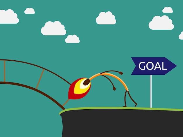 Dopasuj postać płonącego mostu w drodze do celu. koncepcja zaufania, sukcesu i celu, ilustracja wektorowa eps 10, brak przejrzystości