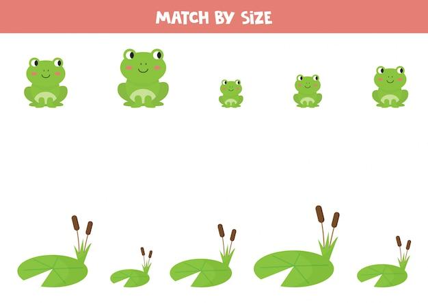 Dopasuj słodkie żaby kreskówkowe według rozmiaru. gra logiczna dla dzieci.