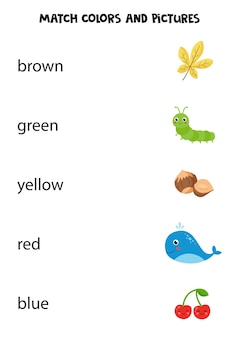 Dopasuj słowa do obrazków. gra edukacyjna dla dzieci. nauka i ćwiczenie kolorów. arkusz roboczy do wydrukowania dla przedszkolaków.