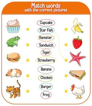 Dopasuj słowa z odpowiednią grą obrazkową dla dzieci
