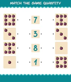 Dopasuj taką samą ilość śliwek. gra liczenia. gra edukacyjna dla dzieci i niemowląt w wieku przedszkolnym