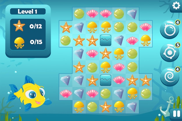 Dopasuj trzy interfejsy gry do podwodnego świata