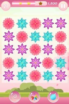Dopasuj trzy interfejsy gry z kwiatami