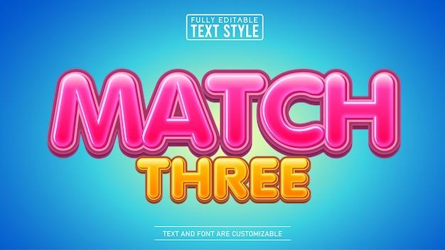 Dopasuj trzy słodkie tytuły gry edytowalny efekt tekstowy