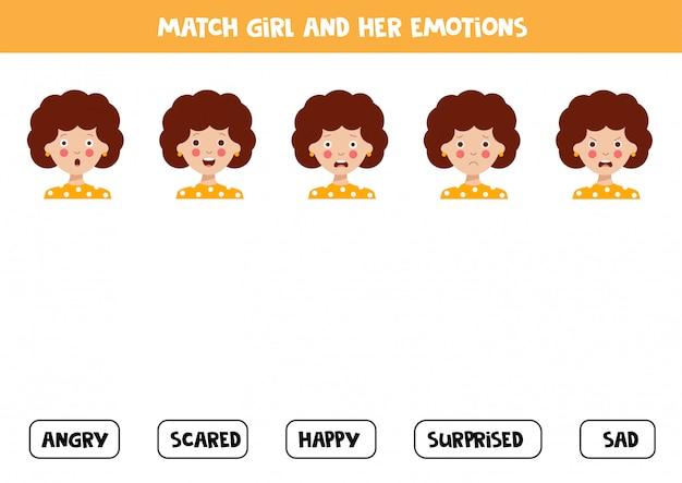 Dopasuj twarz dziewczyny i wyrażone emocje.