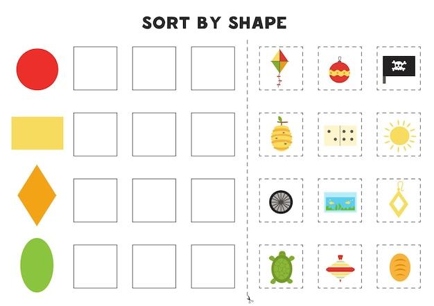 Dopasuj według kształtów. nauka podstawowych kształtów geometrycznych. arkusz do druku dla przedszkola.