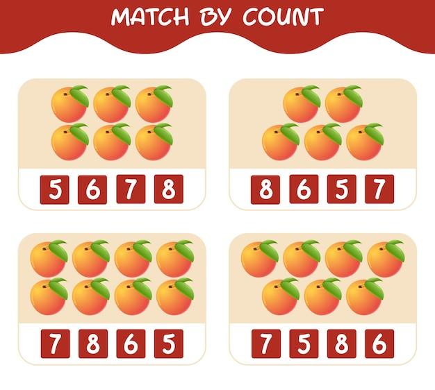 Dopasuj według liczby brzoskwiń z kreskówek gra w dopasowywanie i liczenie gra edukacyjna dla dzieci w wieku przedszkolnym i małych dzieci