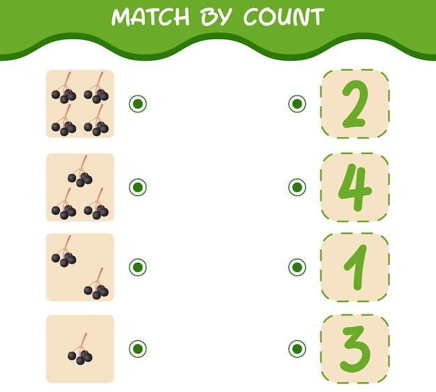 Dopasuj według liczby kreskówek czarnego bzu. gra w dopasowywanie i liczenie. gra edukacyjna dla dzieci i niemowląt w wieku przedszkolnym