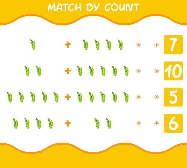 Dopasuj według liczby kreskówek edamame. gra dopasuj i policz. gra edukacyjna dla dzieci w wieku przedszkolnym i małych dzieci