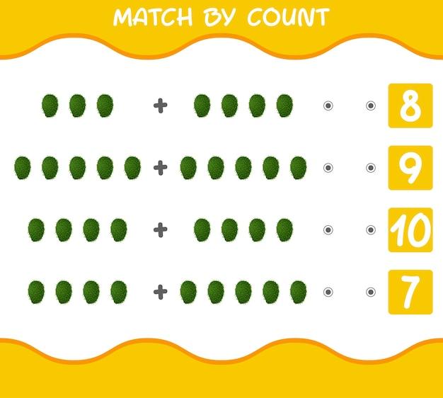 Dopasuj według liczby kreskówek soursops gra w dopasowywanie i liczenie gra edukacyjna dla dzieci w wieku przedszkolnym i małych dzieci