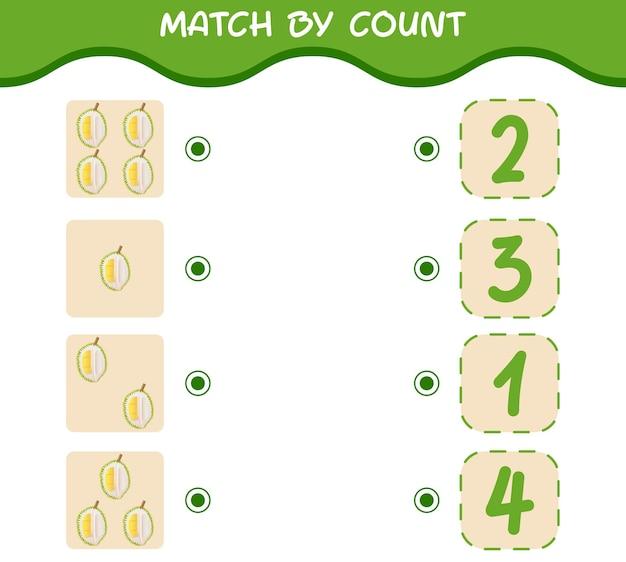 Dopasuj według liczby kreskówkowych durianów. gra w dopasowywanie i liczenie.