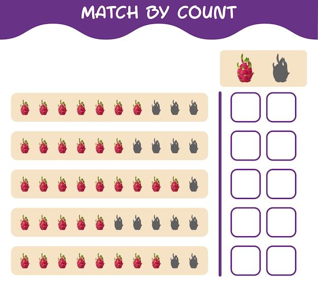 Dopasuj według liczby owoców smoka z kreskówek. gra polegająca na dopasowywaniu i liczeniu. gra edukacyjna dla dzieci i niemowląt w wieku przedszkolnym