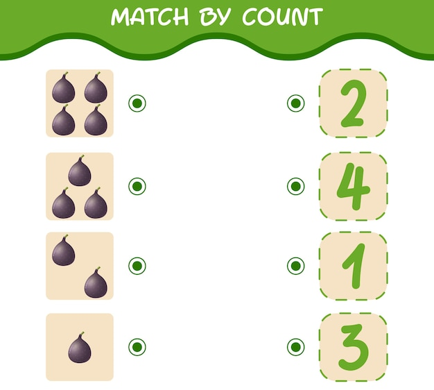 Dopasuj według liczby rysunkowych fig. gra w dopasowywanie i liczenie. gra edukacyjna dla dzieci i niemowląt w wieku przedszkolnym