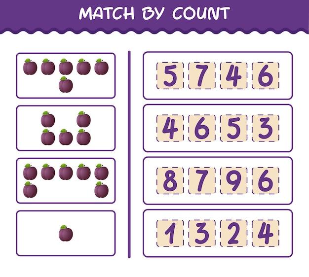 Dopasuj według liczby śliwek z kreskówek. gra polegająca na dopasowywaniu i liczeniu. gra edukacyjna dla dzieci i niemowląt w wieku przedszkolnym