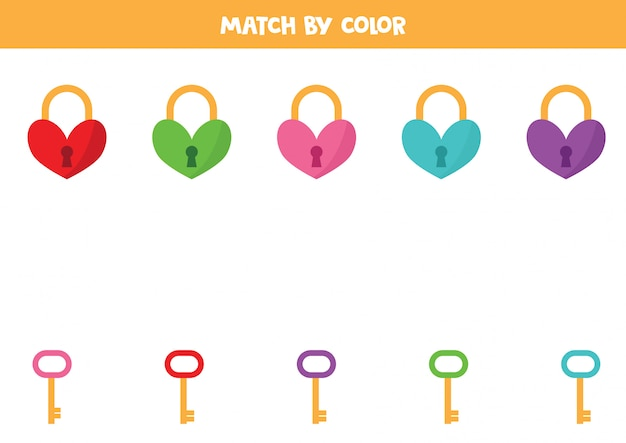 Dopasuj zamki serca i klucze według koloru.