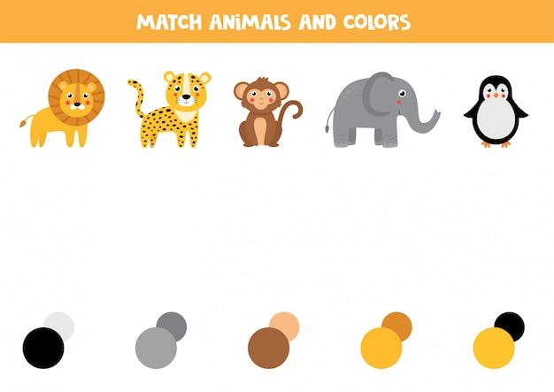 Dopasuj zwierzę i jego paletę kolorów. gra edukacyjna dla dzieci.