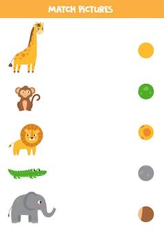 Dopasuj zwierzęta i ich wzór. arkusz edukacyjny dla dzieci.