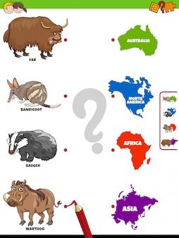 Dopasuj zwierzęta i kontynenty gra edukacyjna dla dzieci
