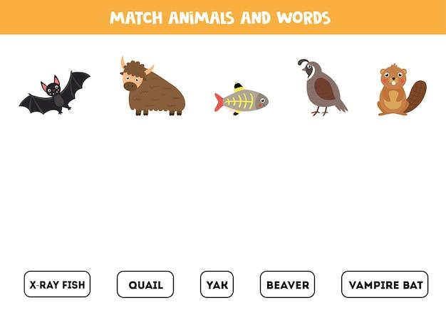 Dopasuj zwierzęta i słowa. edukacyjna gra logiczna z jaka, przepiórką, bobrem i innymi.