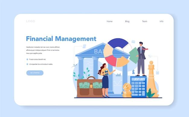 Doradca finansowy lub baner internetowy lub strona docelowa finansisty
