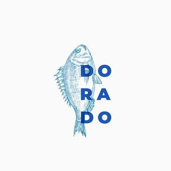Dorado streszczenie znak, symbol lub szablon logo. ręcznie rysowane szkic ryby z klasyczną nowoczesną typografią.