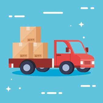 Doręczeniowa ciężarówka z pudełko wektorowym projektem