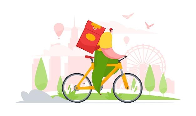 Doręczeniowego mężczyzna jeździecki bicykl w mieście. płaska ilustracja