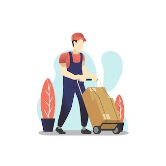 Doręczeniowego mężczyzna pchania ręki ciężarówka z stertą pudełka ilustracyjni