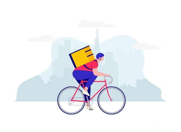 Doręczeniowy facet, kurier na bicyklu z karmowym doręczeniowym plecakiem na miasto krajobrazu tle. koncepcja usługi dostawy. ilustracja.