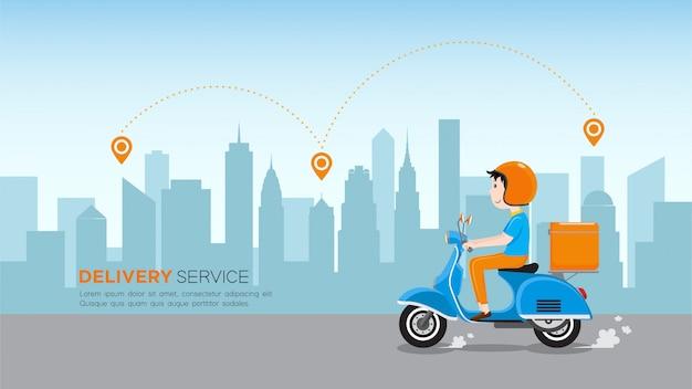 Doręczeniowy mężczyzna jedzie hulajnoga z pudełkiem skrzynka dostawy na drodze w centrum miasta. dział usług dostawczych