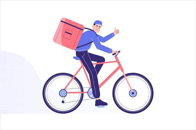 Doręczeniowy mężczyzna jedzie na rowerze dostarczać do miejsca przeznaczenia