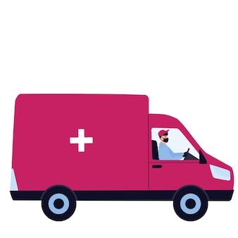 Doręczyciel w masce ochronnej dostarcza lekarstwa samochodem
