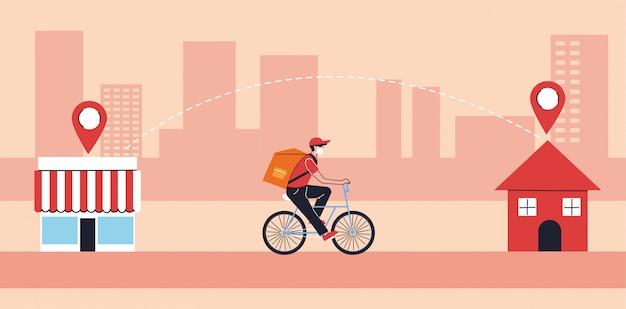 Doręczyciel w ochronnej masce niesie ludzi w kwarantannie, kurier rowerowy