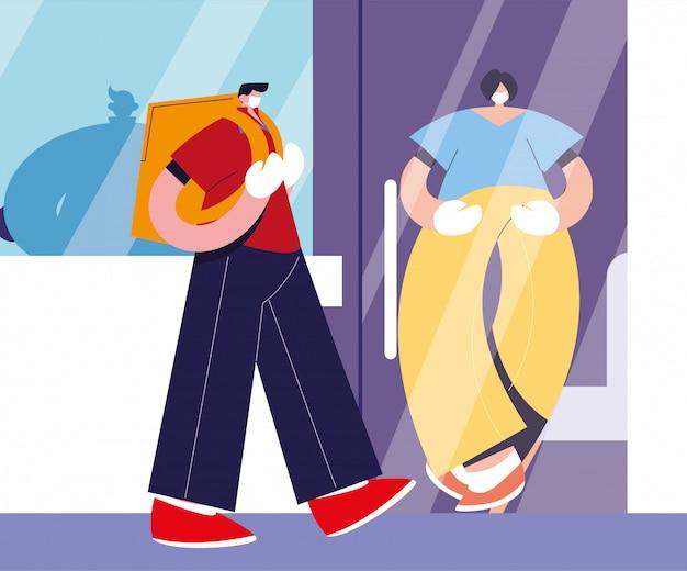 Doręczyciel z maską niesie ze sobą drzwi domu